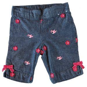 Floral+birdie Embroidered Denim Shorts